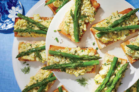 Deviled Egg Salad and Asparagus Tartines