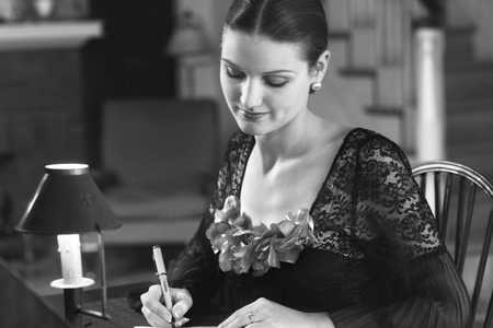 woman writing note
