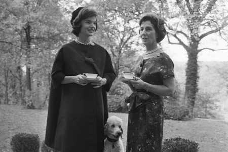 Jackie Kennedy and Mother Janet Auchincloss Having Tea
