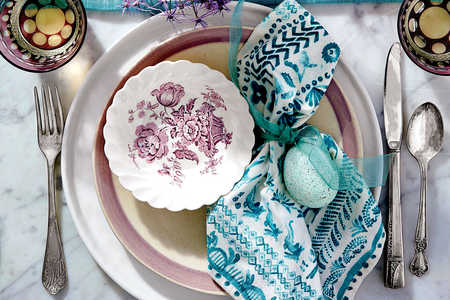 Purple and Teal Place Setting for Easter