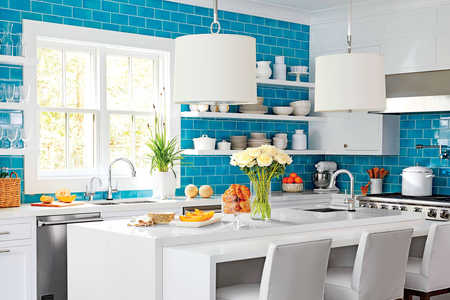 Meg Braff Teal Blue Tile Kitchen with White Cabinets