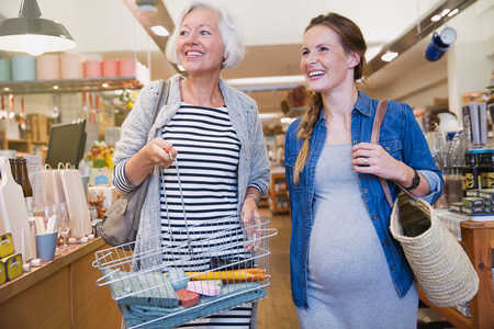 Pregnant Daughter Shopping with Mother in Law