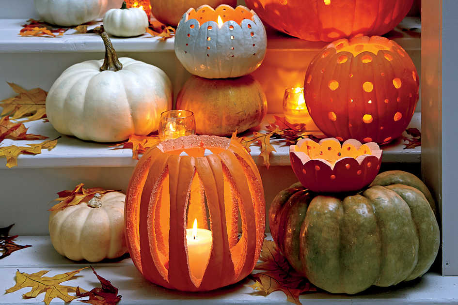 Food Halloween Party Ideas Carve A Patterned Pumpkin