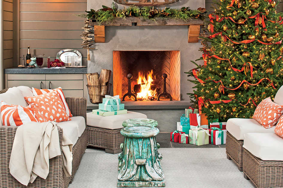 set a holiday scene in your outdoor room - Images For Christmas Decorations