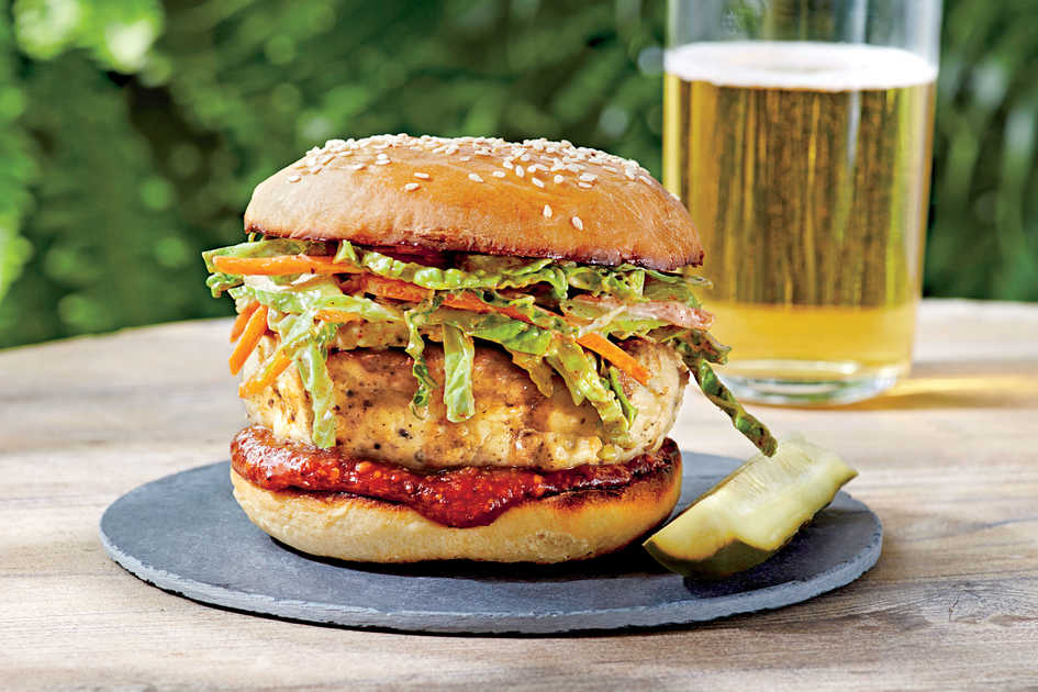 Carolina Chicken Burgers with Ancho Slaw