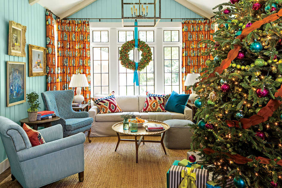 holiday family room - Southern Living Christmas Decorations