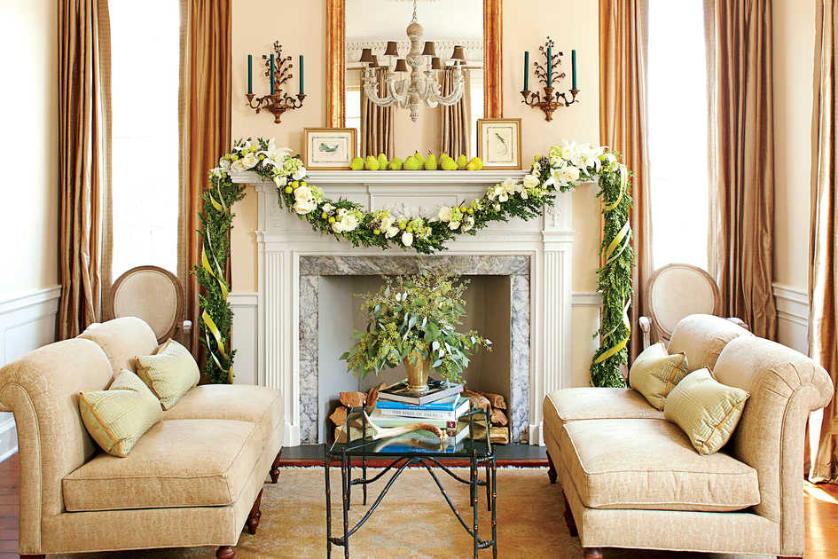 Food  Christmas Decorating Ideas  Living Room Fireplace with Garland