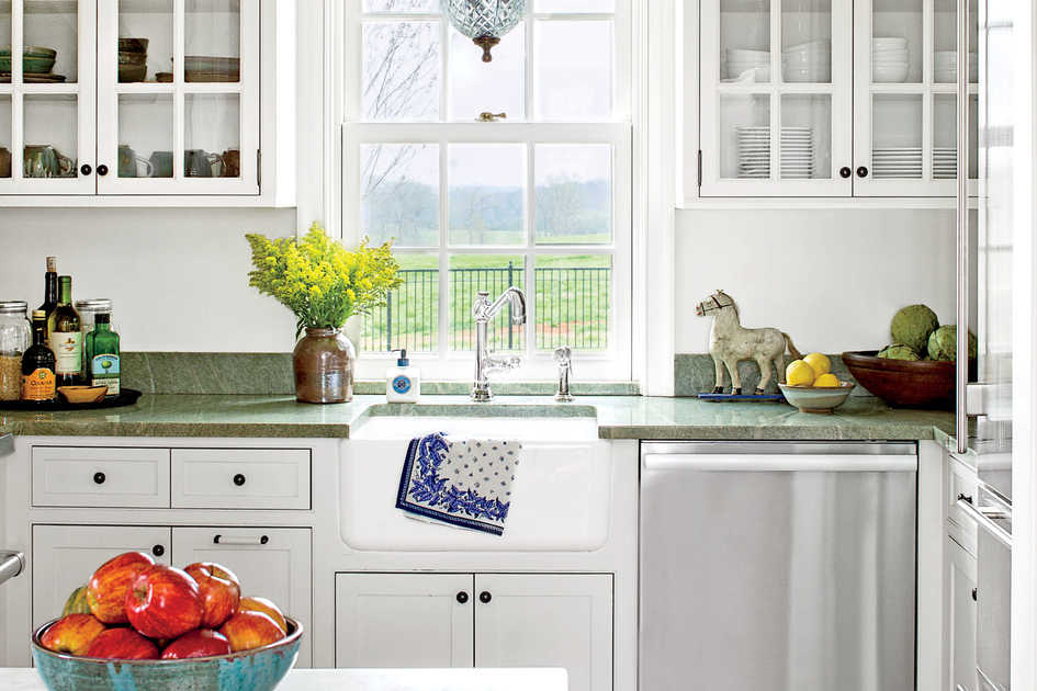 Classic White Kitchen with Green Countertops. Home Decor Ideas   Southern Living