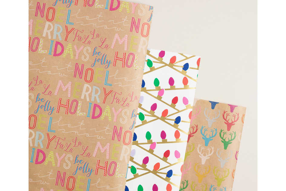 Deer, Letters, and Words Wrapping Paper Rolls