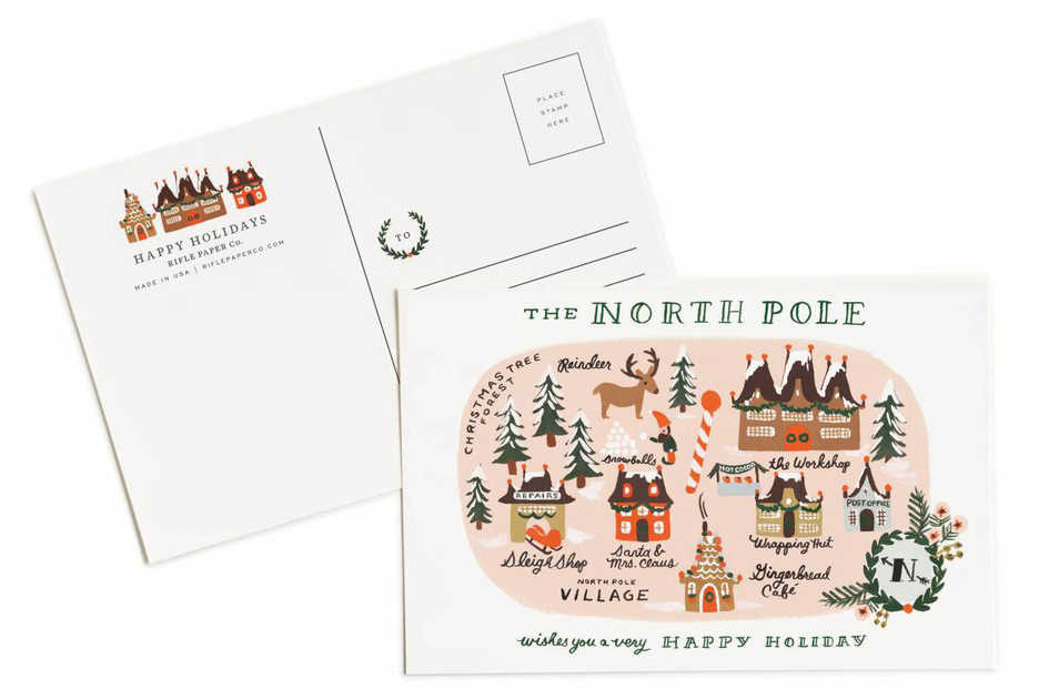 North Pole Map Post Card