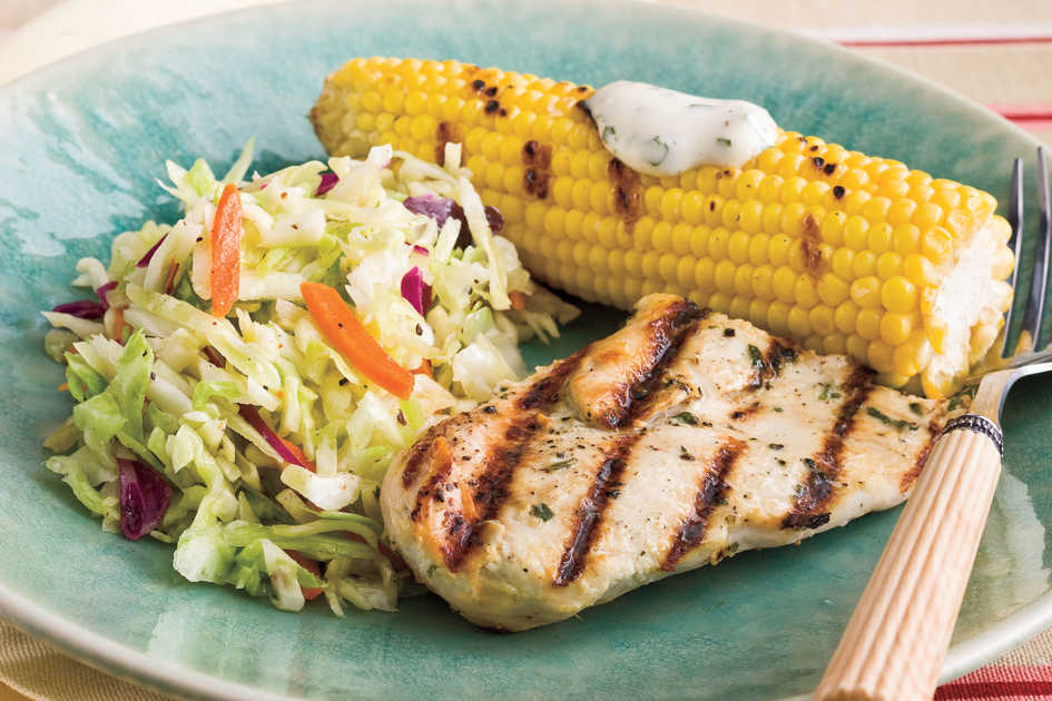 Grilled Chicken With Corn and Slaw