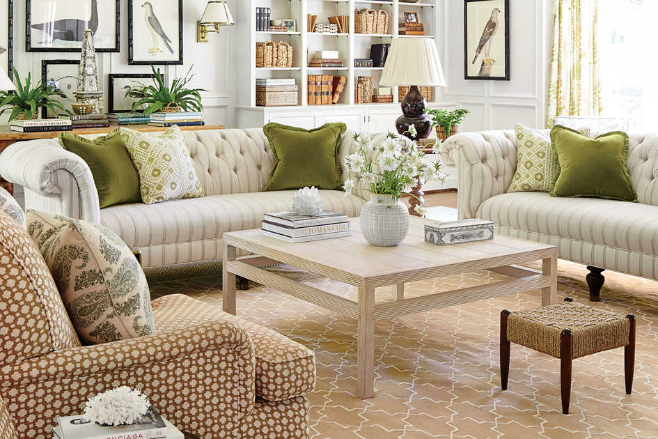 White and Green Family Room