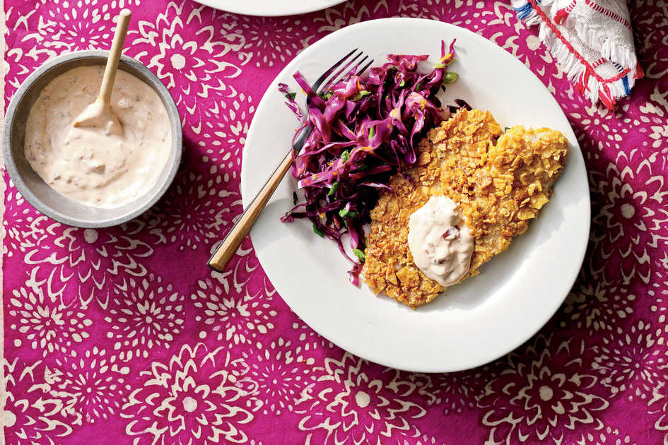 Tortilla-Crusted Tilapia with Citrus Slaw and Chipotle Tartar Sauce