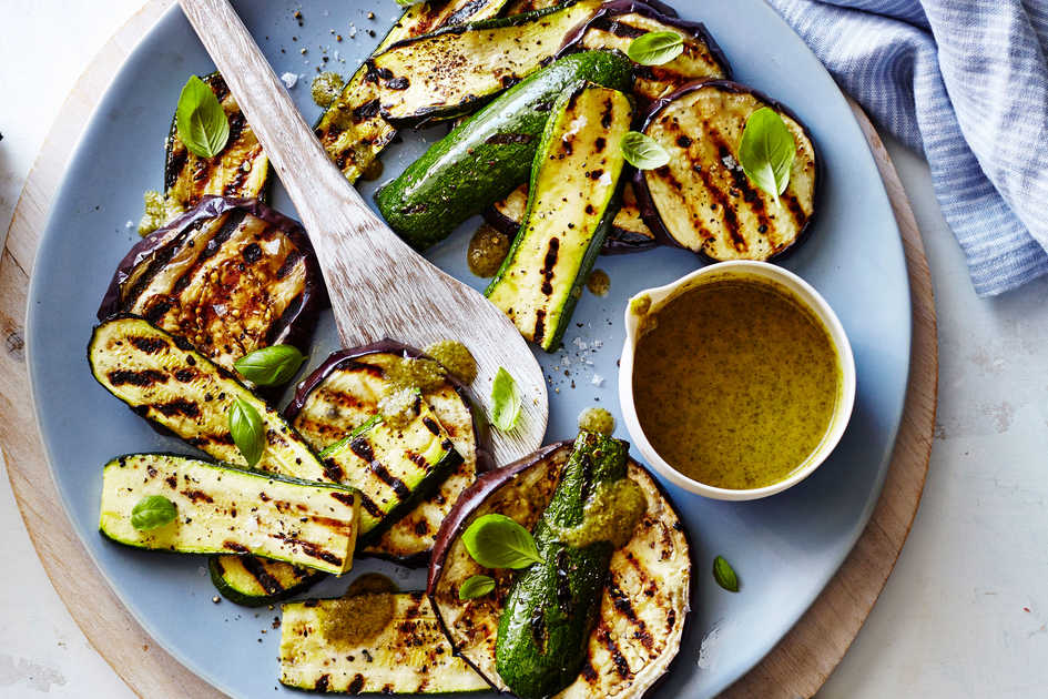 Grilled Zucchini and Eggplant with Basil Vinaigrette