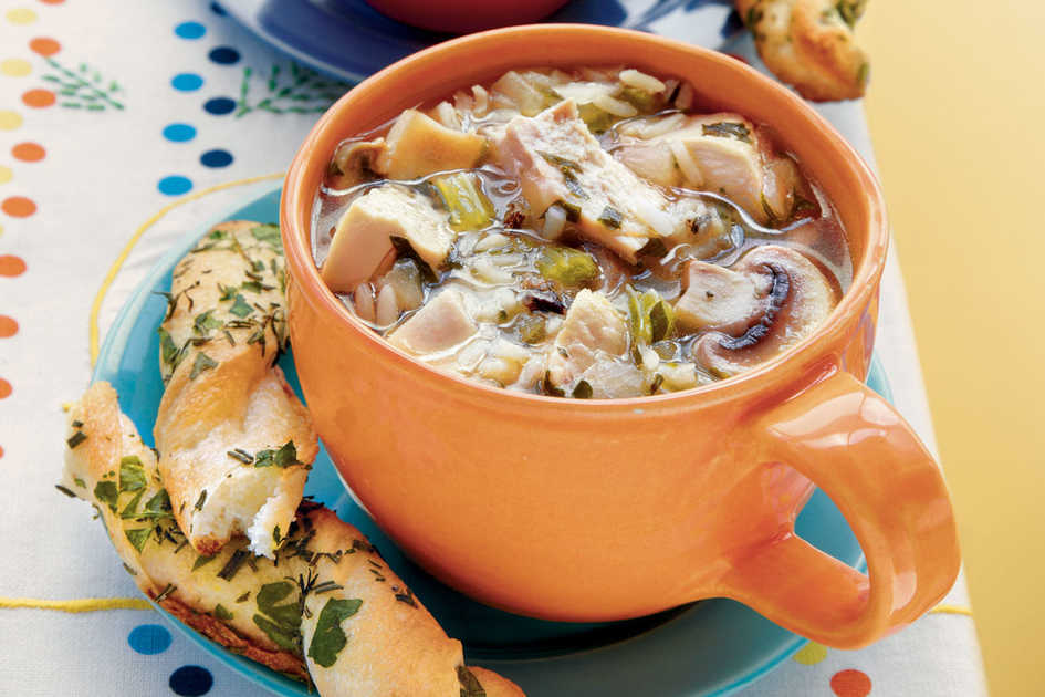 Chicken-and-Rice Soup with Mushrooms