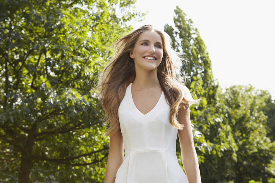 Girl in White Dress with Long Hair