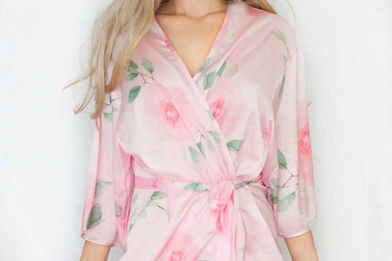 Pink Satin Floral Bridesmaid Robe